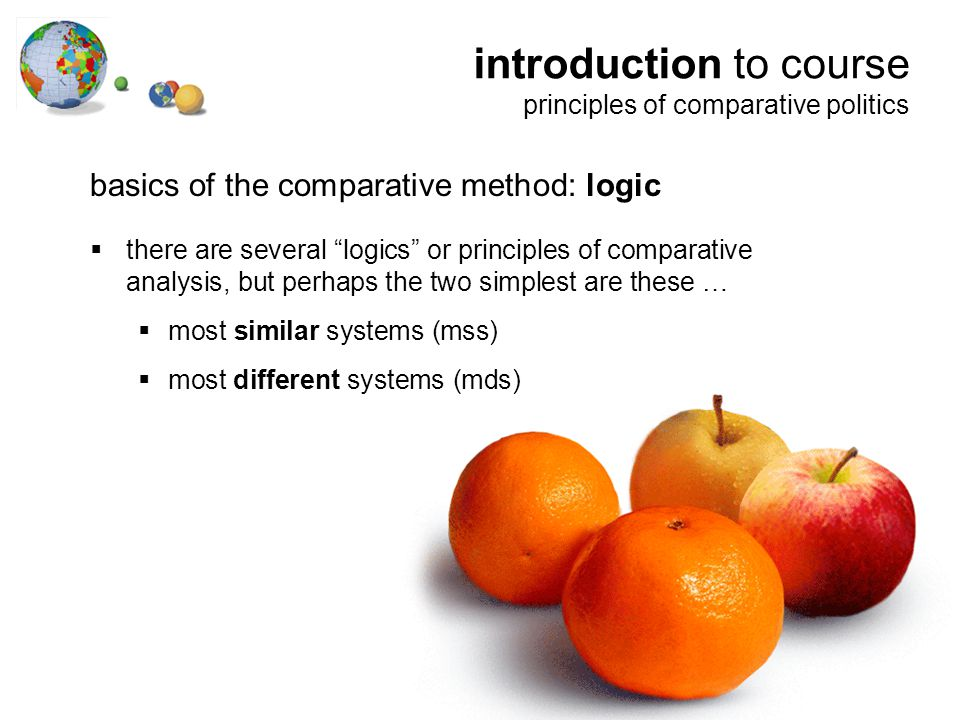introduction to course principles of comparative politics basics of the comparative method: logic  there are several logics or principles of comparative analysis, but perhaps the two simplest are these …  most similar systems (mss)  most different systems (mds)