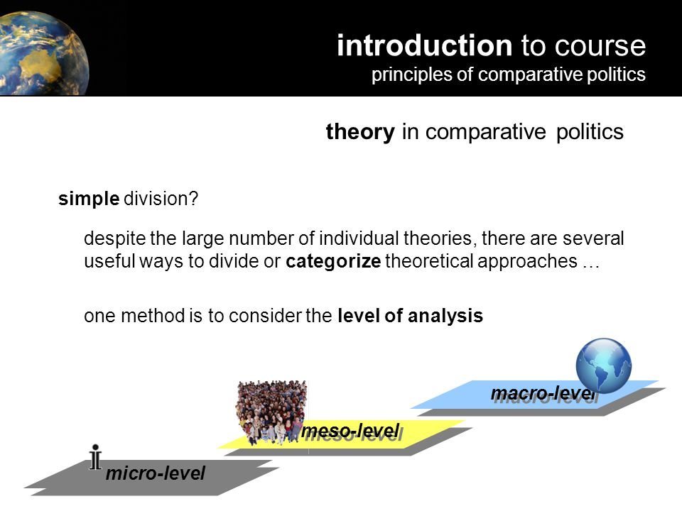 in comparative politics simple division? despite the large number of individual theories, there are several useful ways to divide or categorize theore