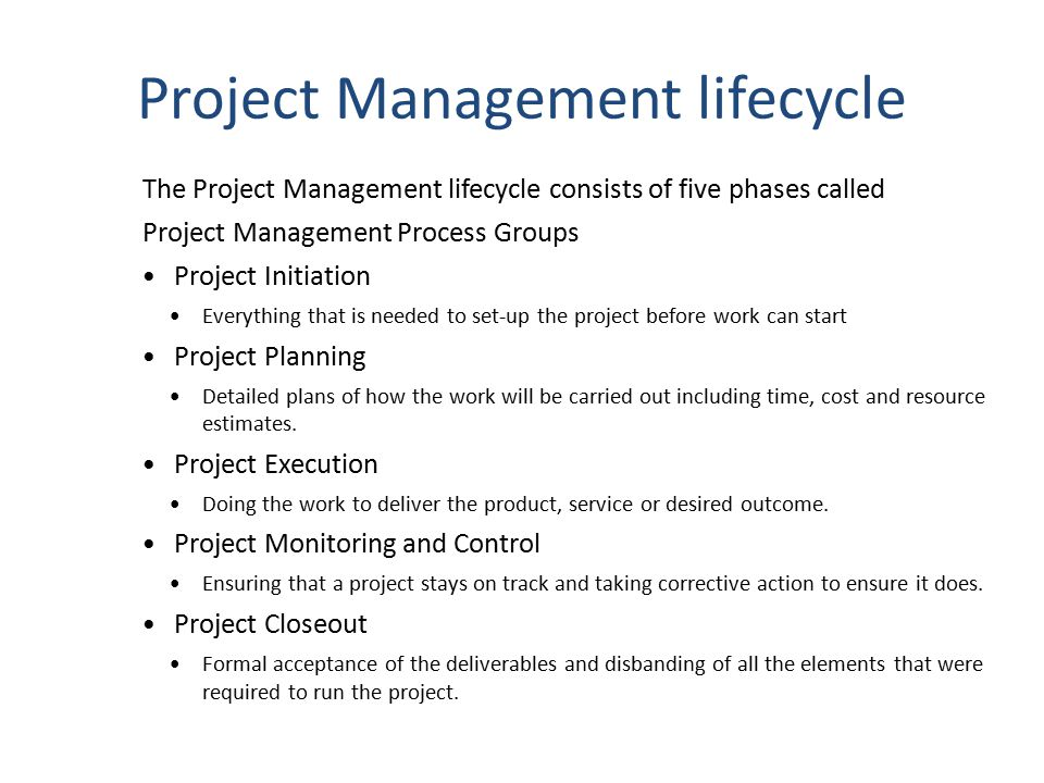 Project Management lifecycle The Project Management lifecycle consists of five phases called Project Management Process Groups Project Initiation Ever