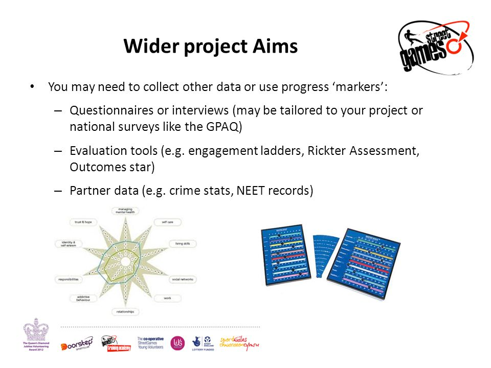 Wider project Aims You may need to collect other data or use progress 'markers': – Questionnaires or interviews (may be tailored to your project or national surveys like the GPAQ) – Evaluation tools (e.g.
