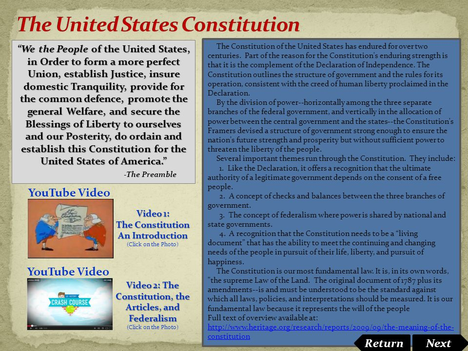The Constitution of the United States has endured for over two centuries. Part of the reason for the Constitution's enduring strength is that it is th