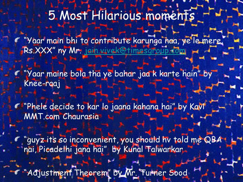 "5 Most Hilarious moments ""Yaar main bhi to contribute karunga naa, ye le mere Rs.XXX"" ny Mr. jain.vivek@timesgroup.comjain.vivek@timesgroup.com ""Yaar"