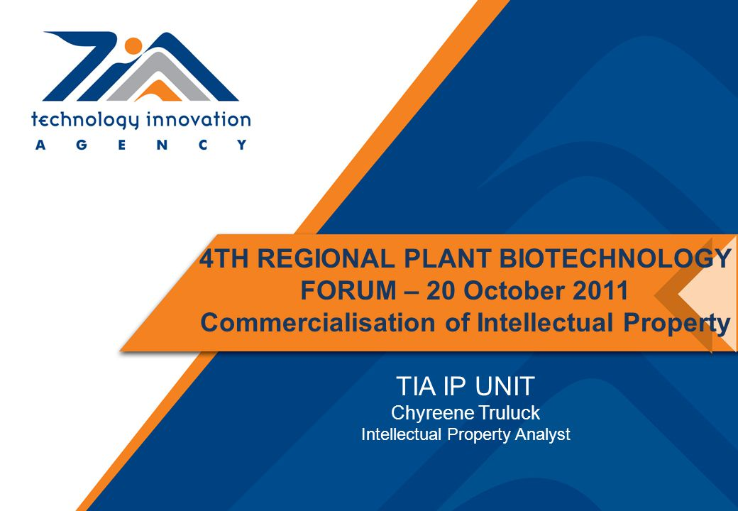 Transgenic plant Transform plant and Select and screen transformed plants Insert into vector Isolate and amplify gene Patent for transgenic plant; Plant breeder's right for new plant variety; Trademark for variety name Patent for process; Know how for process; Design registration and Trademark for equipment e.g.