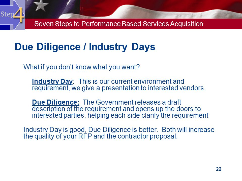 Seven Steps to Performance Based Services Acquisition 22 Due Diligence / Industry Days  What if you don't know what you want?  Industry Day: This is