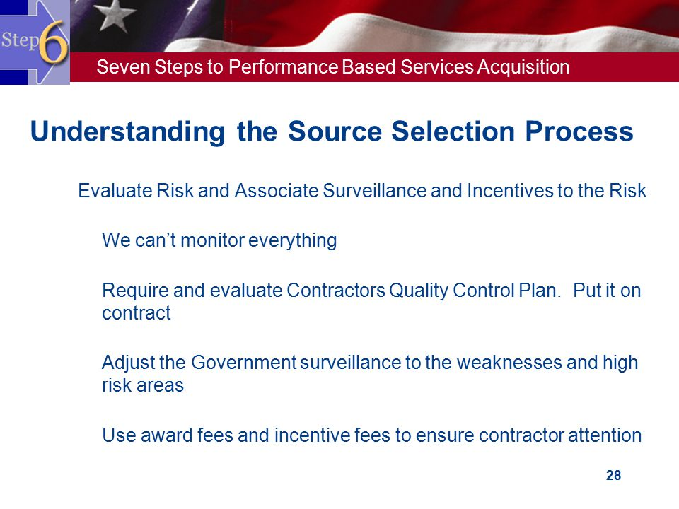 Seven Steps to Performance Based Services Acquisition 28 Understanding the Source Selection Process  Evaluate Risk and Associate Surveillance and Inc