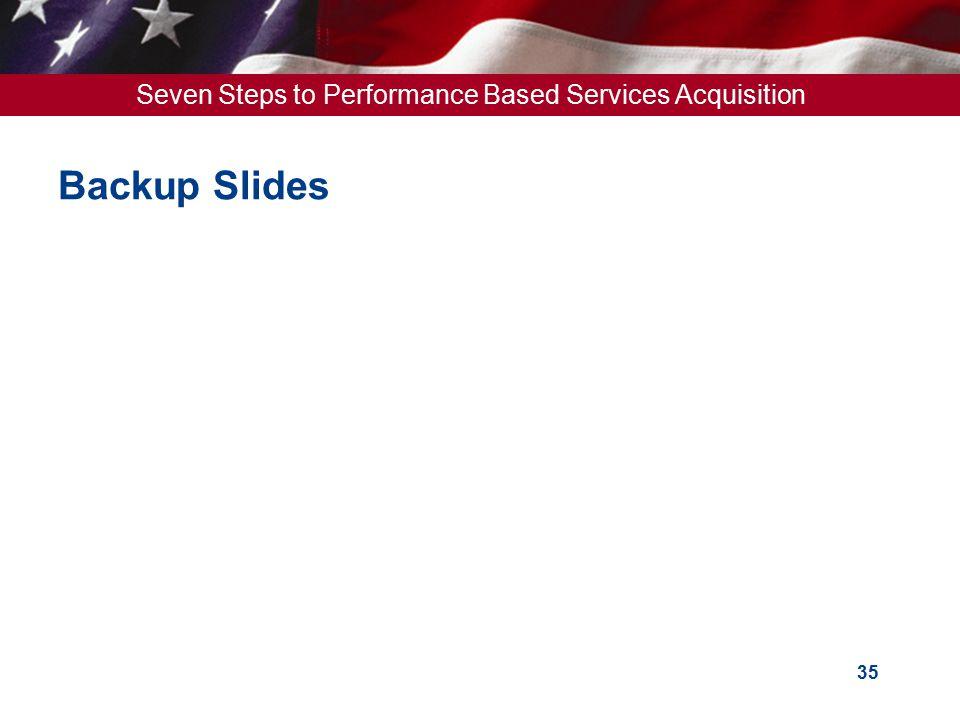 Seven Steps to Performance Based Services Acquisition 35 Backup Slides