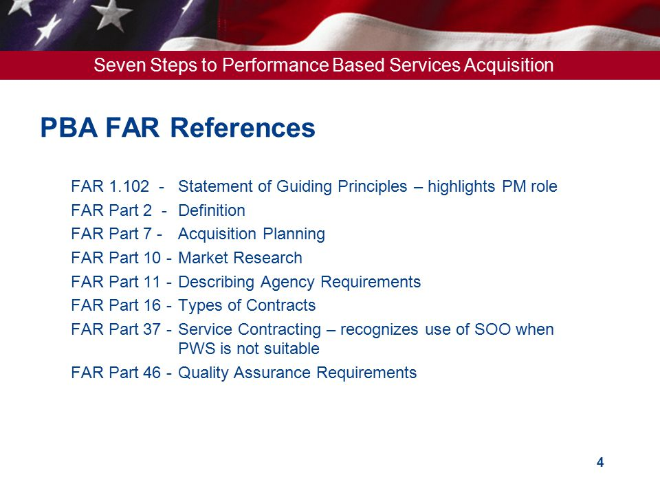 Seven Steps to Performance Based Services Acquisition 25 SLA Process (Pre-Award)  Draft Award Fee Plan and SLA Format Evaluation Decision: –Option 1: Specify SLAs & have all vendors bid the same –Option 2: Let vendors chose SLAs & targets  Review requirements before release and see if tasks are sufficiently defined to create notional SLAs to include as recommendations  Remember that the Government's strongest negotiation position is pre-award  Award/ Incentive Fee Plans are unilateral before the period begins, bi-lateral during the period (if the CO allows any changes at all) Option # 2 is harder to evaluate but better post award: Better measures, more leverage after award.