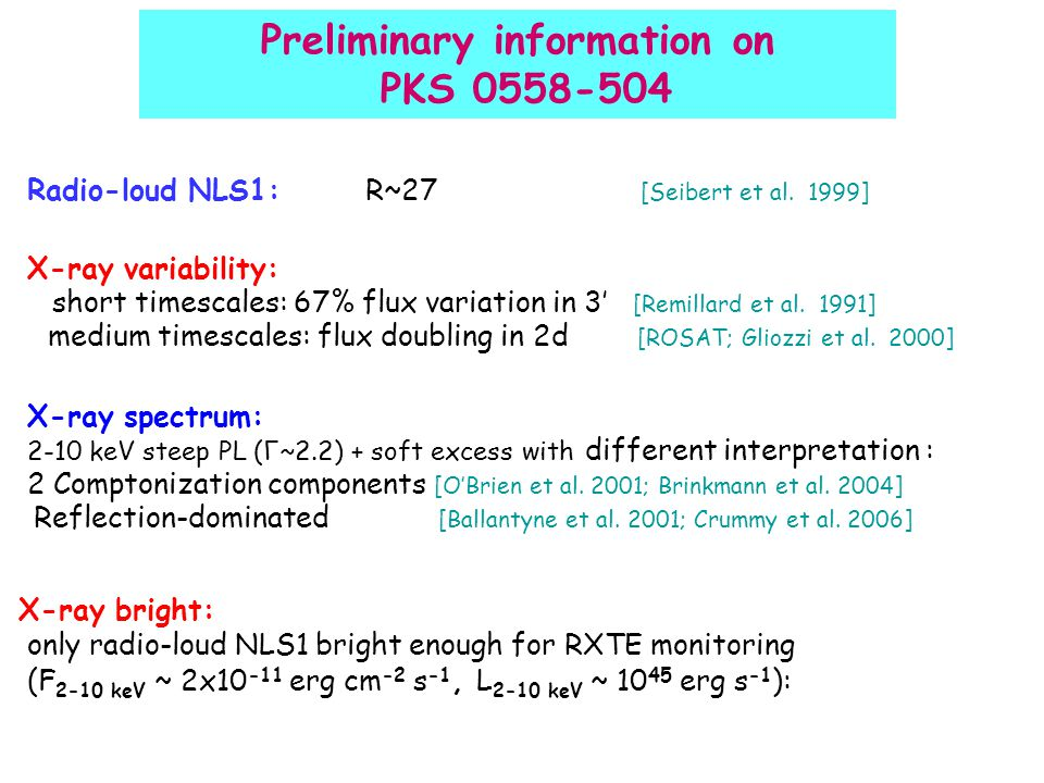 Preliminary information on PKS 0558-504 Radio-loud NLS1: R~27 [Seibert et al.