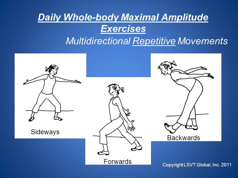 Daily Whole-body Maximal Amplitude Exercises Multidirectional Repetitive Movements Forwards Sideways Backwards Copyright LSVT Global, Inc.