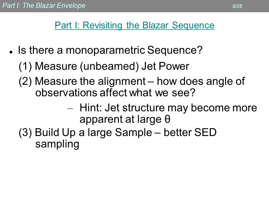 Part I: The Blazar Envelope 9/28 Part I: Revisiting the Blazar Sequence Is there a monoparametric Sequence.