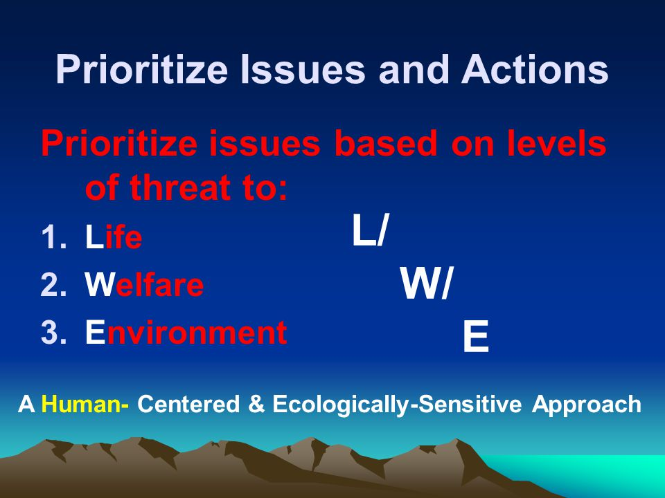 Prioritize Issues and Actions Prioritize issues based on levels of threat to: 1.Life 2.Welfare 3.Environment L/ W/ E A Human- Centered & Ecologically-Sensitive Approach