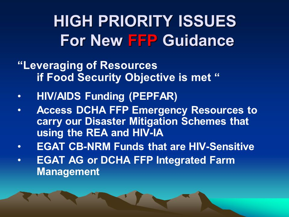HIGH PRIORITY ISSUES For New FFP Guidance Leveraging of Resources if Food Security Objective is met HIV/AIDS Funding (PEPFAR) Access DCHA FFP Emergency Resources to carry our Disaster Mitigation Schemes that using the REA and HIV-IA EGAT CB-NRM Funds that are HIV-Sensitive EGAT AG or DCHA FFP Integrated Farm Management