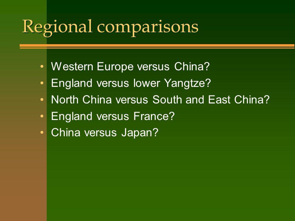 Regional comparisons Western Europe versus China. England versus lower Yangtze.
