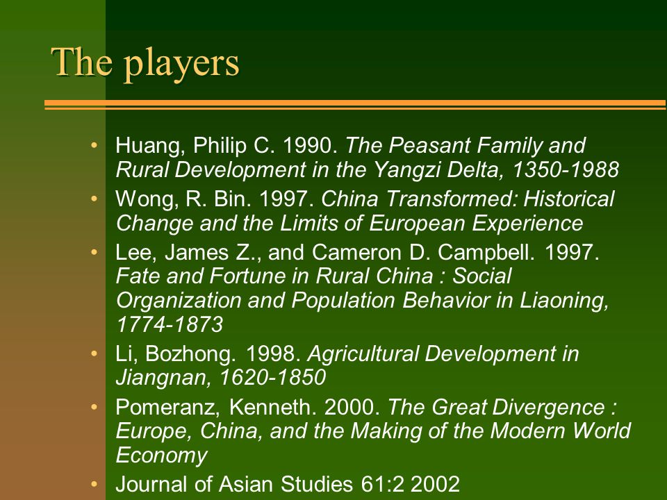 The players Huang, Philip C. 1990.