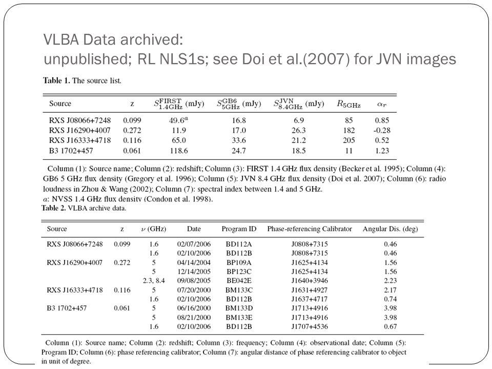 VLBA Data archived: unpublished; RL NLS1s; see Doi et al.(2007) for JVN images dd