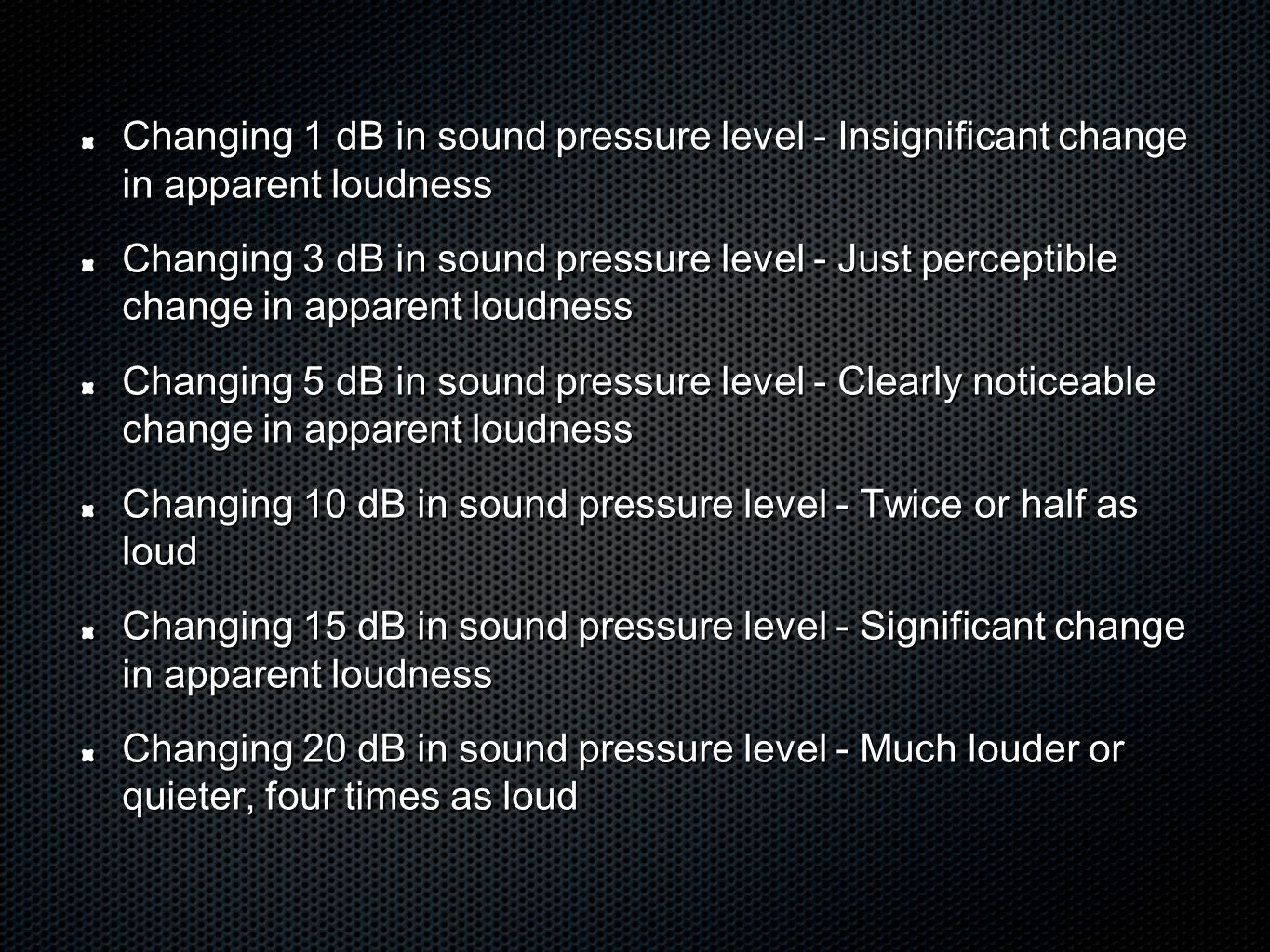 Changing 1 dB in sound pressure level - Insignificant change in apparent loudness Changing 3 dB in sound pressure level - Just perceptible change in apparent loudness Changing 5 dB in sound pressure level - Clearly noticeable change in apparent loudness Changing 10 dB in sound pressure level - Twice or half as loud Changing 15 dB in sound pressure level - Significant change in apparent loudness Changing 20 dB in sound pressure level - Much louder or quieter, four times as loud