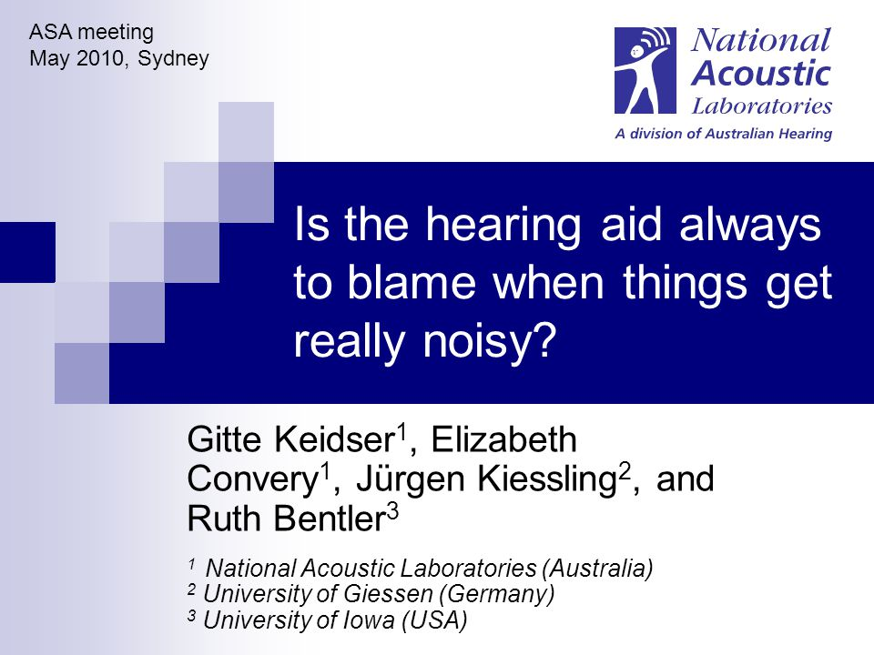 National Acoustic Laboratories, Sydney, Australia ASA 2010, Sydney Background Of 56 randomly selected hearing aid users, 82% reported experiencing loudness discomfort in real life Mean: -4.9 dB re NAL-NL1 @ 65 Mean: -10.7 dB re NALSSPL