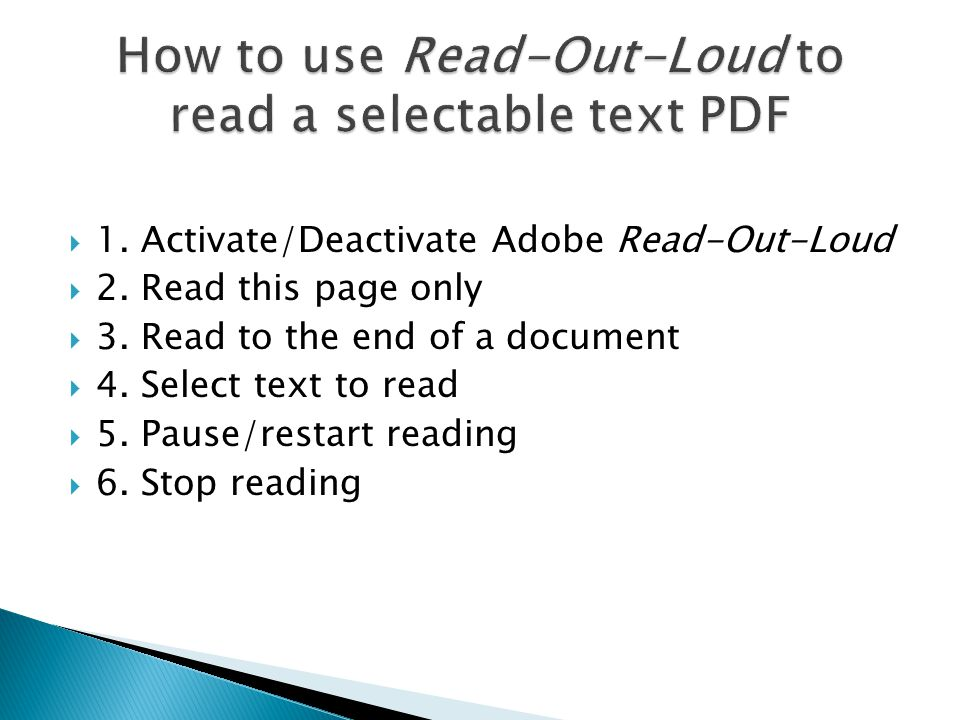 1. Activate/Deactivate Adobe Read-Out-Loud  2. Read this page only  3. Read to the end of a document  4. Select text to read  5. Pause/restart r