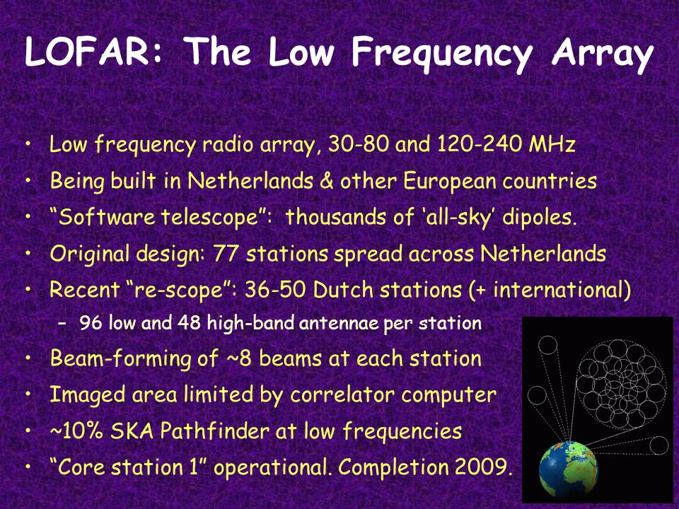 LOFAR: The Low Frequency Array Low frequency radio array, 30-80 and 120-240 MHz Being built in Netherlands & other European countries Software telescope : thousands of 'all-sky' dipoles.