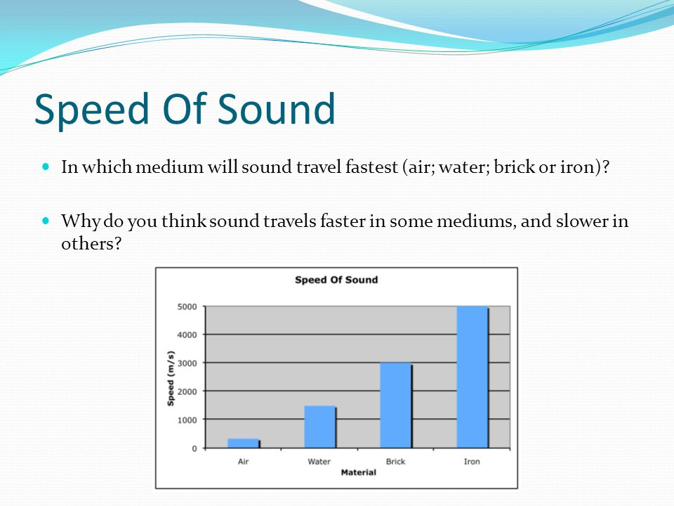 Speed Of Sound Sound waves disperse less energy when moving through a medium of greater density In other words, the denser the medium the faster the sound passes through it (generally) Sound travels through the iron much more quickly than through air, as the iron is so much more dense (particles are much closer together)