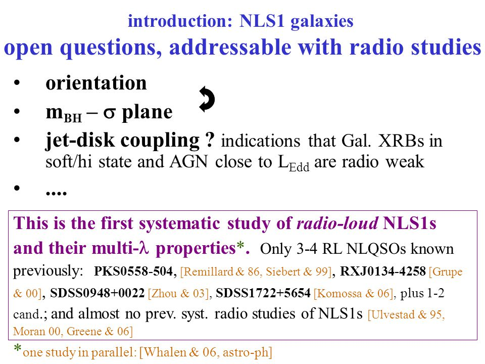 introduction: NLS1 galaxies open questions, addressable with radio studies orientation m BH –  plane jet-disk coupling .