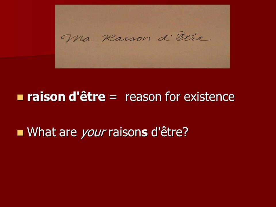 raison d être = reason for existence raison d être = reason for existence What are your raisons d être.