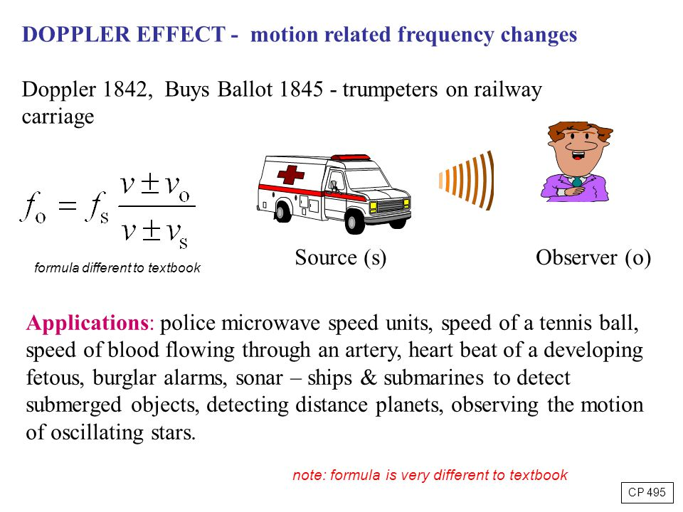 DOPPLER EFFECT - motion related frequency changes Doppler 1842, Buys Ballot 1845 - trumpeters on railway carriage Source (s) Observer (o) Applications