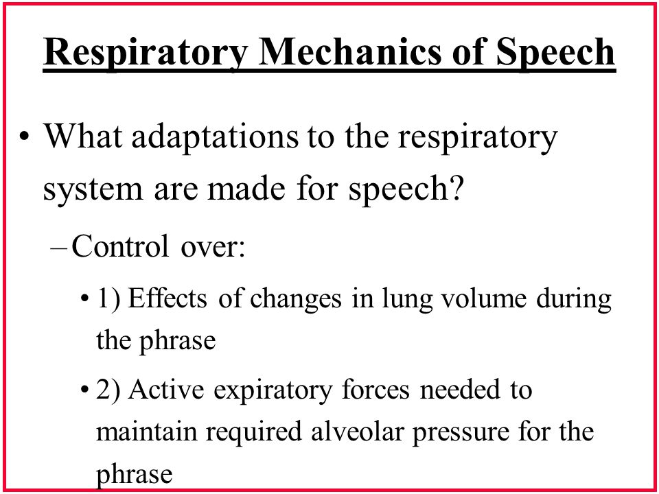 Respiratory Mechanics of Speech What adaptations to the respiratory system are made for speech? –Control over: 1) Effects of changes in lung volume du