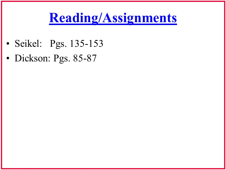 Reading/Assignments Seikel: Pgs. 135-153 Dickson: Pgs. 85-87