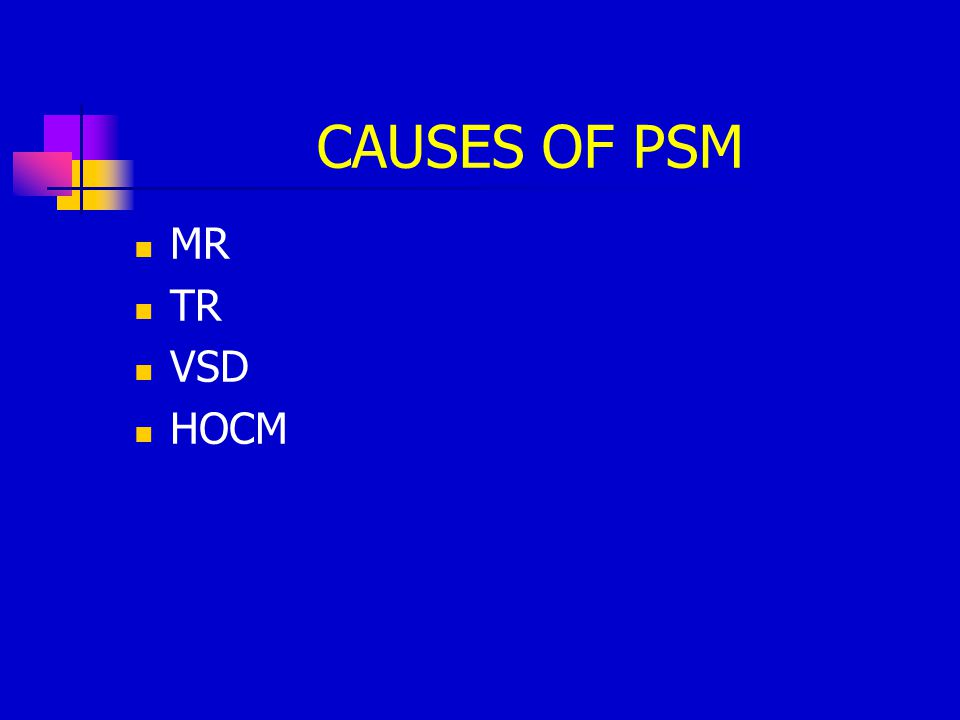CAUSES OF PSM MR TR VSD HOCM