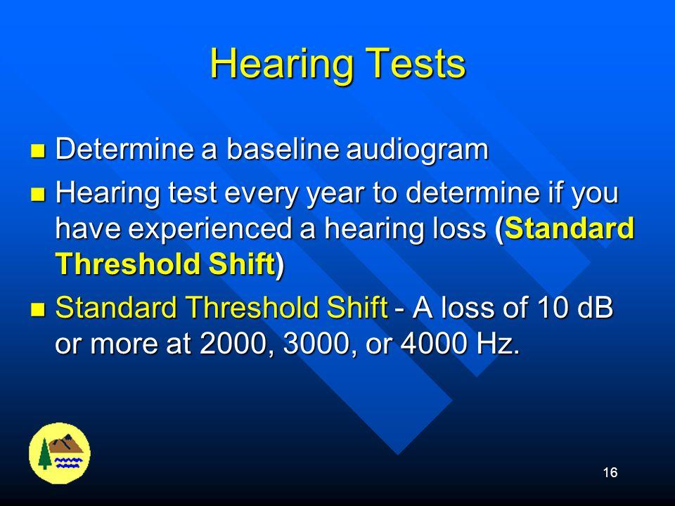 15 What does BLS say? At 85 dB (8hr. TWA) (50% Dose) At 85 dB (8hr. TWA) (50% Dose) –Train employees –Make hearing protection available –Sample for no