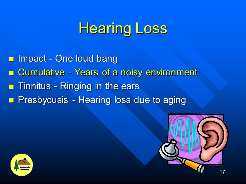 16 Hearing Tests Determine a baseline audiogram Determine a baseline audiogram Hearing test every year to determine if you have experienced a hearing loss (Standard Threshold Shift) Hearing test every year to determine if you have experienced a hearing loss (Standard Threshold Shift) Standard Threshold Shift - A loss of 10 dB or more at 2000, 3000, or 4000 Hz.