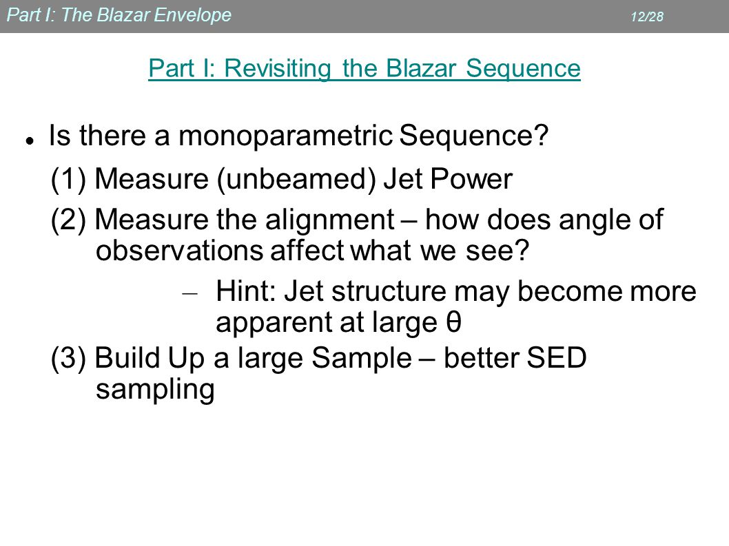 Part I: The Blazar Envelope 12/28 Part I: Revisiting the Blazar Sequence Is there a monoparametric Sequence.