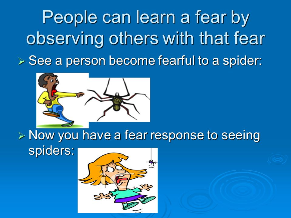 People can learn a fear by observing others with that fear  See a person become fearful to a spider:  Now you have a fear response to seeing spiders: