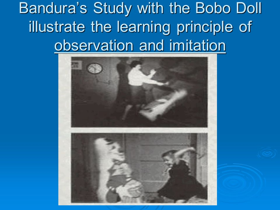 Bandura's Study with the Bobo Doll illustrate the learning principle of observation and imitation