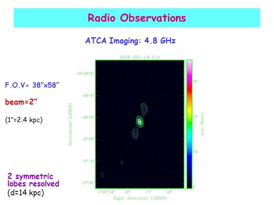 Radio Observations ATCA Imaging: 4.8 GHz F.O.V= 38 x58 beam=2 (1 =2.4 kpc) 2 symmetric lobes resolved (d=14 kpc)