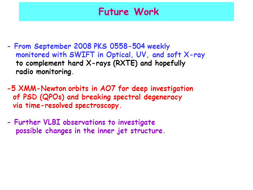 Future Work - From September 2008 PKS 0558-504 weekly monitored with SWIFT in Optical, UV, and soft X-ray to complement hard X-rays (RXTE) and hopefully radio monitoring.
