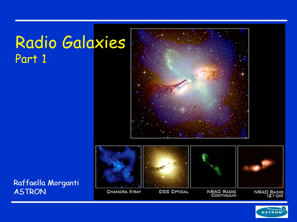 The plan 1.What are AGNs and radio galaxies - How to find them A prototype radio galaxy - Emission mechanisms 2.Morphology of the radio emission: various morphologies, nuclear regions, highly collimated jets - hot-spots - radio lobes 4.A look at the host galaxy Ionized gas: from pc to tens of kpc 5.