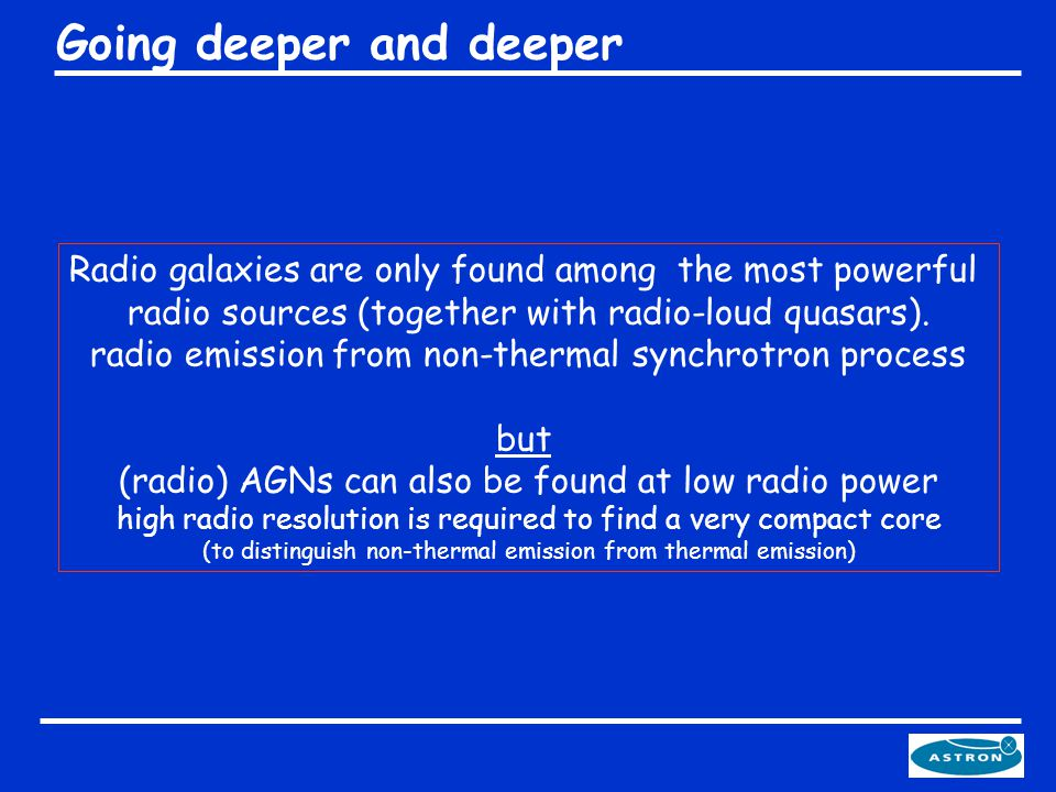 Radio galaxies are only found among the most powerful radio sources (together with radio-loud quasars).
