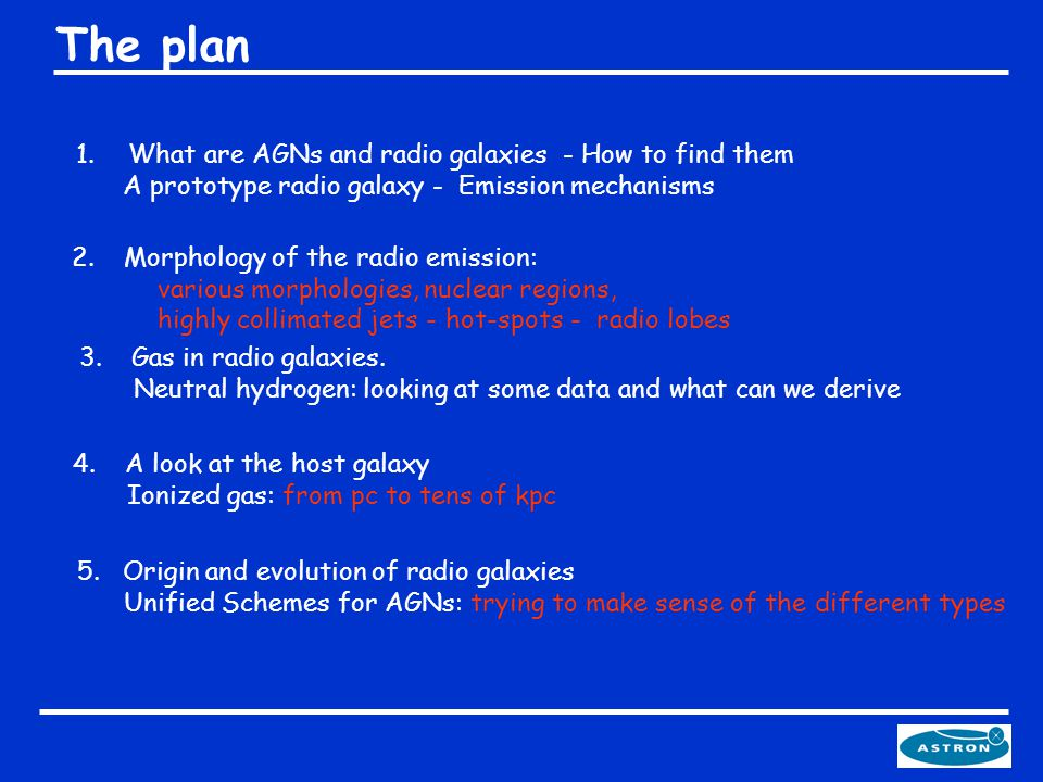 The plan 1.What are AGNs and radio galaxies - How to find them A prototype radio galaxy - Emission mechanisms 2.Morphology of the radio emission: vari