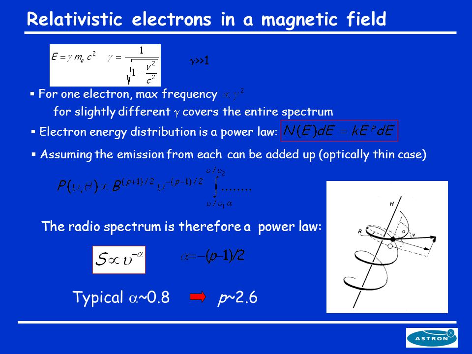  Electron energy distribution is a power law:  >>1 Relativistic electrons in a magnetic field The radio spectrum is therefore a power law: Typical  ~0.8 p~2.6  For one electron, max frequency for slightly different  covers the entire spectrum  Assuming the emission from each can be added up (optically thin case)