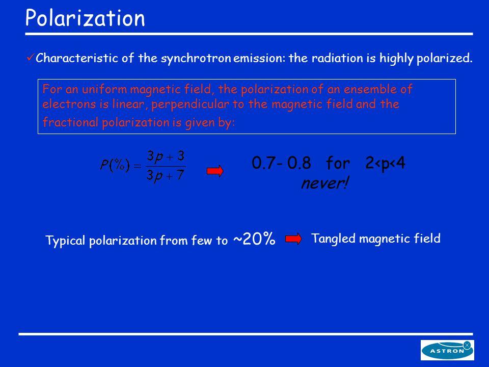 Polarization Characteristic of the synchrotron emission: the radiation is highly polarized.