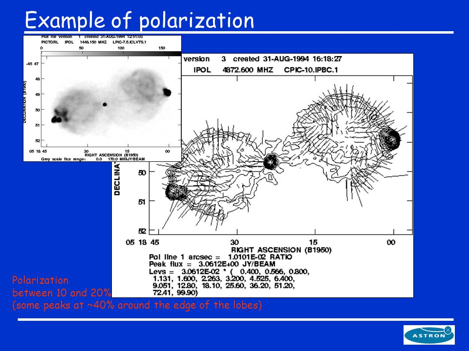 Example of polarization Polarization between 10 and 20% (some peaks at ~40% around the edge of the lobes)