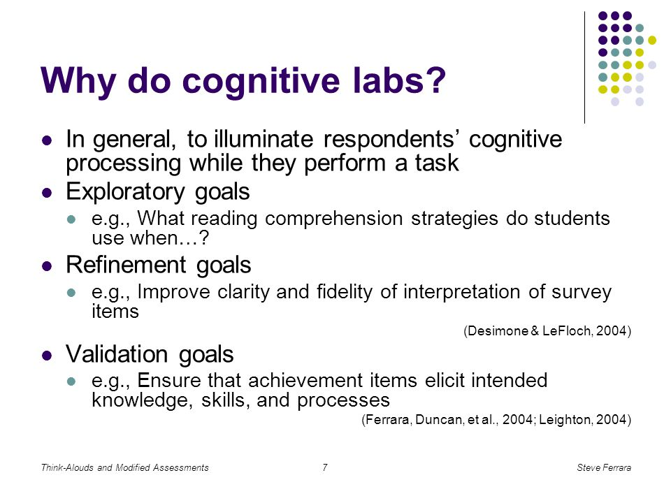Think-Alouds and Modified AssessmentsSteve Ferrara7 Why do cognitive labs.
