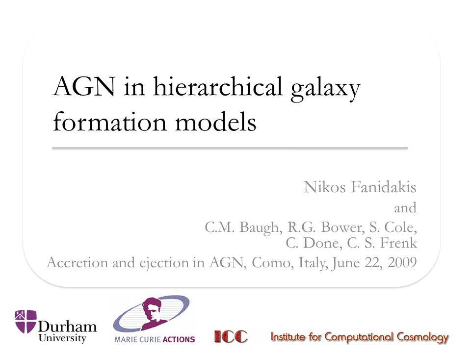 Conclusions We have developed a model using GALFORM for understanding the radio loudness of AGN in hierarchical cosmological models.