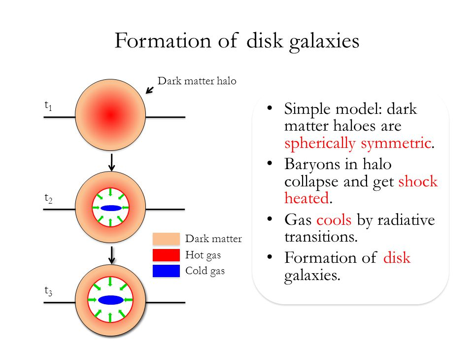 Formation of disk galaxies Simple model: dark matter haloes are spherically symmetric.