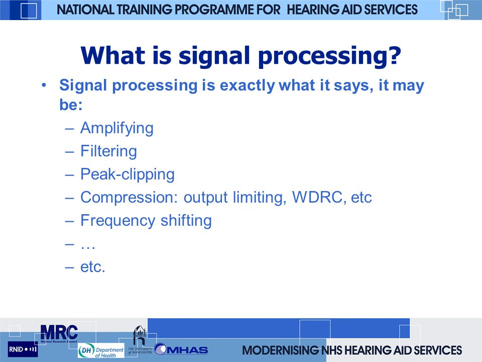 The need for compression The problem with linear aids – the same gain is applied to all levels of input signal we need high gain for low input levels, and low gain for high input levels - compression we need some way of automatically turning down the gain of the hearing aid as the input intensity increases an automatic gain control or AGC
