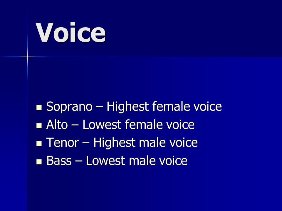 Voice Soprano – Highest female voice Soprano – Highest female voice Alto – Lowest female voice Alto – Lowest female voice Tenor – Highest male voice Tenor – Highest male voice Bass – Lowest male voice Bass – Lowest male voice