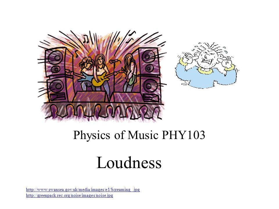 Loudness Physics of Music PHY103 http://www.swansea.gov.uk/media/images/e/l/Screaming_.jpg http://greenpack.rec.org/noise/images/noise.jpg