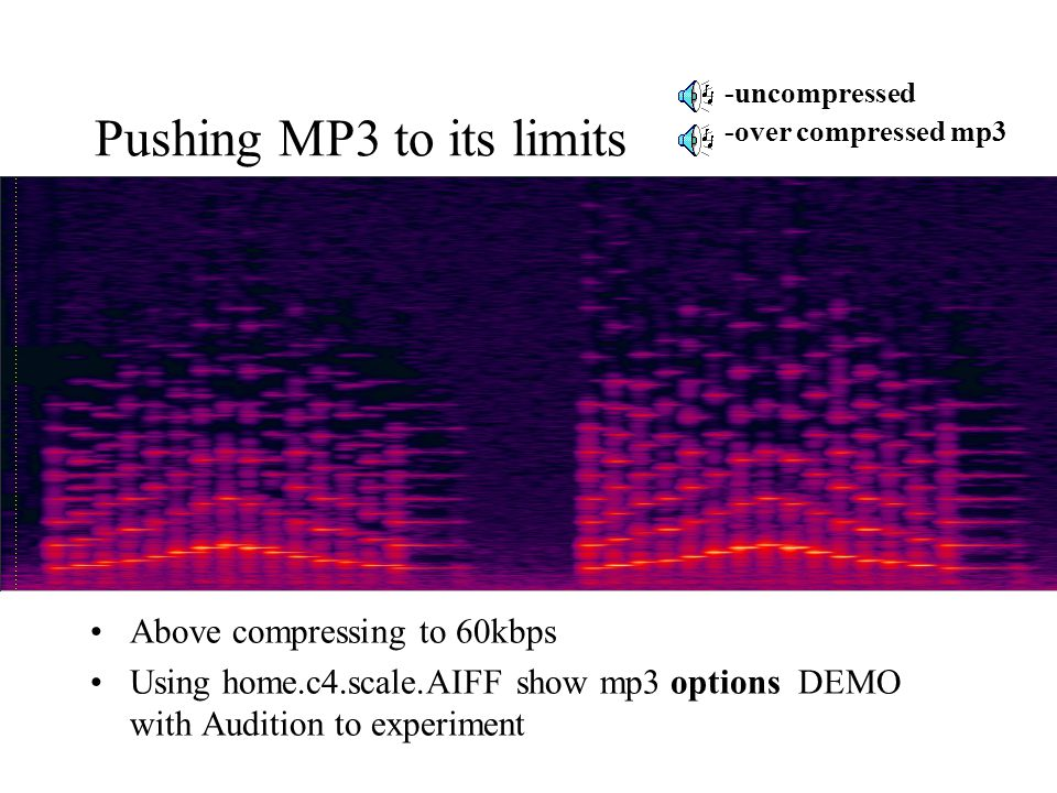 Pushing MP3 to its limits Above compressing to 60kbps Using home.c4.scale.AIFF show mp3 options DEMO with Audition to experiment -uncompressed -over c